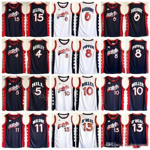 1996 US Basketball Jersey Sonho Três 4 Charles Barkley 5 HILL 10 MILLER 6 Penny Hardaway 8 Scottie Pippen 15 Hakeem Olajuwon americano