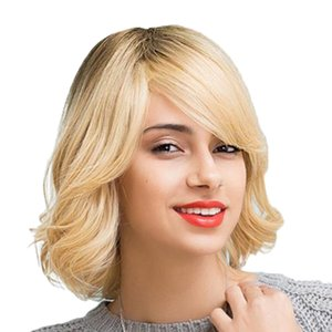 Women Short Bob Style Wig, Real Human Hair, Natural Straight Curly Ombre Gold with Side Bangs Wigs for Daily & Wedding Wear
