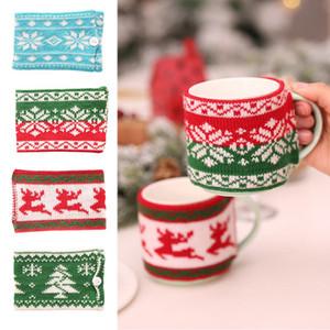 Noël Tricoté Woollen Cup Bouteille en verre Couverture Couverture mitigeurs Coupe de Noël Décoration de table Ambiance festive