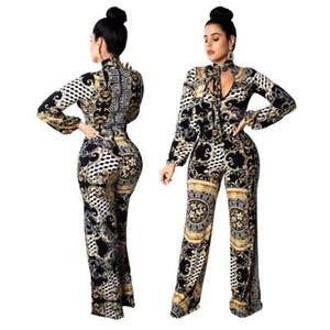 Womens Digital Impreso Bodycon Pantalones de pierna ancha Body de manga larga Monos de fiesta Monos Mono Tallas grandes Ropa de verano S-2XL
