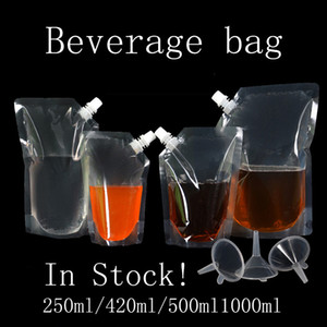 Stand-up boisson en plastique d'emballage Sac pochette pour Spout boisson liquide jus lait café Sacs de rangement Livraison gratuite