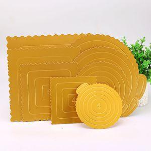 Yuvarlak Kare Altın Kek Taban Tek Kullanımlık Kağıt Bardak Pratik Kek Kurulu Doğum Günü Kek Aracı QW9510 için Taşınabilir Üsle ...