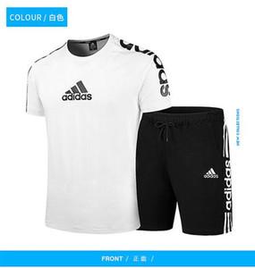 Sommermänner beiläufige Sportkleidung stellt Baumwoll Brief Kurzarmhemden Tops und Shorts zwei Stück Outfits Sets Trainingsanzüge L ~ 5XL
