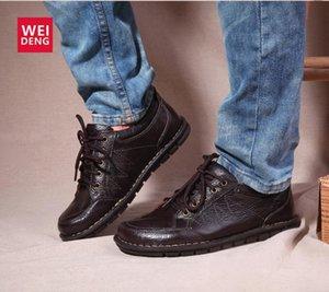 Weideng echtes Leder Diabetische Schuhe Weiche britischen Oxford Lace Up Fashion Herren Schuhe Slip-on-Kleid Büro-Schuhe