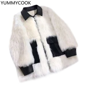 YUMMYCOOK Veste longue et moyenne pour femme, mode hiver, fourrure grande taille, fourrure décontractée, veste pour femme coréenne sauvage F164