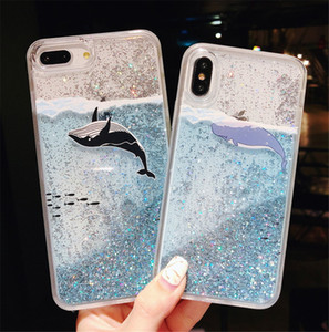 Custodia per telefono Quicksand Liquid per iPhone 6 7 8 Plus X XR XS Max Dynamic Glitter Shining Cover Coque