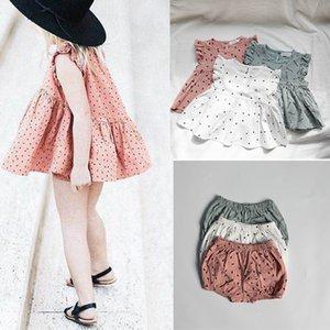 EnkeliBB agradable del niño ropa de la muchacha del verano de los bebés del algodón hecho de manga corta camiseta y Bloomers Establece Niña traje Y200325