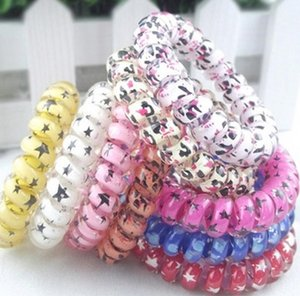 New Leopard Star Hair Rings Telephone Wire Elastics Bobbles Hair Tie Bands Kids Adult Hair Accessories Can used as Bracelets 5.5cm