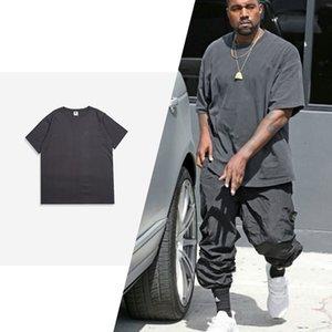 6 Color de Kanye West de los hombres del verano del color sólido Casual algodón de manga corta camiseta camisetas Streetwear Hip Hop Swag de gran tamaño de los hombres de