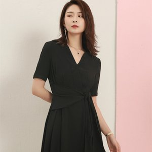 Summer 2020 new professional dress intellectual elegance v-neck short-sleeved simple fashion slim waist long a-line skirt