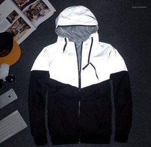 Coats Erkekler 3M Yansıtıcı Tasarımcı Ceketler İlkbahar Sonbahar Rüzgarlık Ceket Kapşonlu Spor HIPHOP