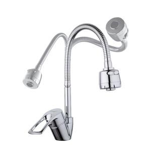 cubierta de cromo contemporáneo al por mayor y al por menor monta agua protector de grifo de la cocina giratoria fría y agua del grifo del mezclador