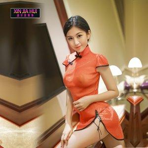 Chinese Cheongsam Stil Negligée Spitze der neuen Frauen Nachtwäsche Erotische Dessous Sexy Lingerie Hot Sexy Hot Erotik Bekleidung Set LY191224