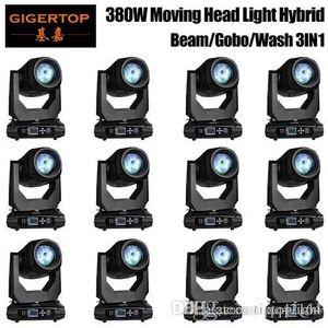 Wholesales Цена 12 Единицы 18R шулер 380W RGBW DMX512 Moving Head Beam Pattern Призма Увеличить Этап затемнение Свет Гобо Light Прожектор 3IN1
