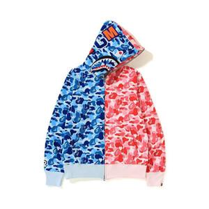 Solta Jacket com capuz Casual Outono Inverno Adolescente Rosa Camo azul Costura zipper cardigan com capuz Hoodies dos homens