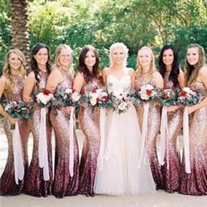 Degrade Renk Gelinlik Modelleri Sequins Halter Boyun Çizgisi Mermaid Kat Uzunluk Uzun Hizmetçi Onur Elbiseler Düğün Konuk Elbiseler