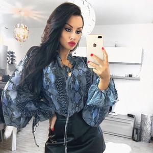 Cotton Broadcloth Full None Poliestere Donna Top Blusas Mujer De Moda 2019 Serpentine Tied Bandwidth Maglietta allentata Donna