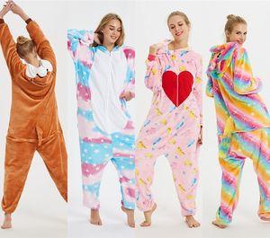 Invierno franela pijama pijama Mujeres puntada Bodies para adultos Parejas pijamas animal de la historieta del Anime de Cosplay mujer dormir MC3023-44