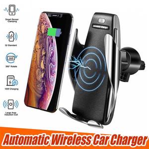 S5 무선 자동차 충전기 자동 클램핑 아이폰 안드로이드 에어 벤트 전화 홀더 360도 회전 10W 빠른 상자와 충전