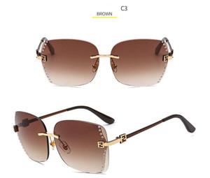 Neue große rahmen frauen sonnenbrille mode hohe qualität frauen helle bohrer f randlose gradienten sonnenbrille weiblichen brief eyewear spiegel uv400