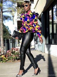 Femmes Designer Camouflage Vestes manches longues col montant Volants Manteau Printemps Automne Femmes Manteaux