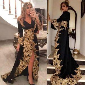 Árabe Negro en V Cuello Mangas largas Vestidos de noche 2020 Nueva llegada Llegada de encaje de oro apliques vacaciones de vacaciones más Tamaño Formal Party Batos de baile