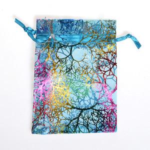 100 PCS Rainbow Coral Moda Organza Joyería Regalo Bolsas Bolsas 4 Tamaños Bolso de cordón Bolsa de organza Bolsas de caramelo DIY Bolsas de regalo