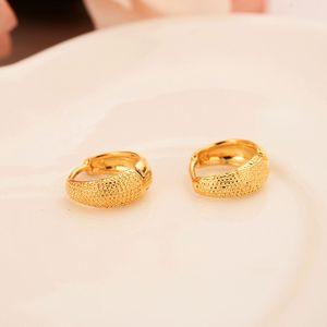 9 k fester feines Gelbgold GF Kreis-Band-Ohrring kleine Ohrringe Vintage elastische Garnelen weibliche Ohrringe Großhandel FREE SHIPPING übertrieben