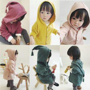 Enfants bébé Mode Manteau à capuchon mignon de couleur unie à manches longues Printemps Automne Casual vêtement chaud