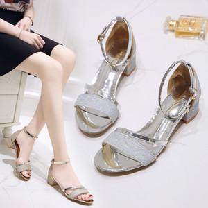 Hot Sale-Sandales européennes et américaines de 43 yards pour femmes en été Sandales à bout ouvert ornées de bouts ouverts avec des chaussures à talons moyens pour femmes