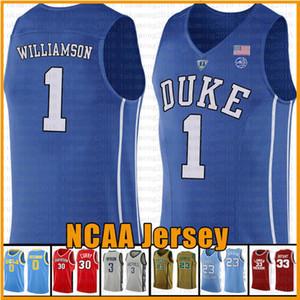 Erkek Zion 1 Williamson Duke Blue Devils NCAA Kolej Basketbol Jersey Kam 2 Kırmızımsı RJ 5 Barrett Mavi Beyaz Siyah Formalar