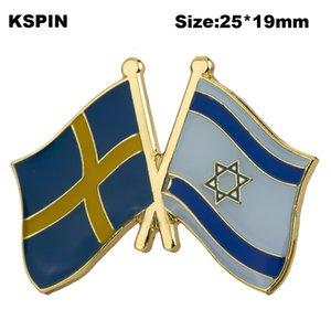 Schweden Israel Freundschaft Markierungsfahnen-Revers Pin Flagge Abzeichen Revers-Stifte Abzeichen Brosche XY0577