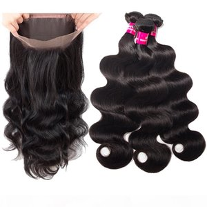 8A Brazilian Body Wave & Straight Hair 3 Bundles With 360 Full Lace Closure Double Weft Brazilian Peruvian Malaysian Human Hair Extensions