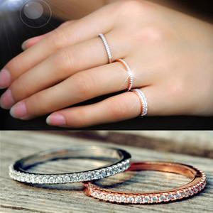 2019 Womens 18k banhado a ouro anel de casamento simples 925 Sparkling Zirconia pavimentadas Diamonds banda de anel