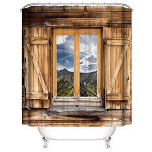 Özelleştirilmiş Su Geçirmez Retro Ahşap Kapı Windows ışık orman evi Duş Perdeleri Ile 3D Dijital Baskı Banyo Perdeleri Yüzükler
