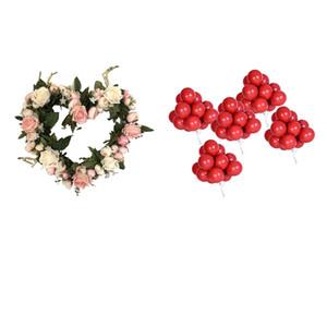 Yapay Çelenk Lintel Kapı Duvar Simülasyon Garland Düğün Doğum Dekor Fotoğraf Props ile 50pcs Kırmızı Lateks Balon