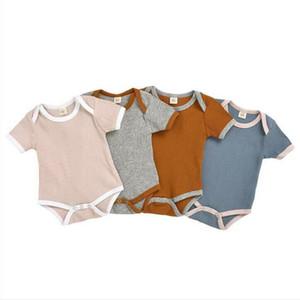 Детская одежда для младенцев Твердые Rompers малышей Лето Статья Pit Мальчики комбинезон Gilrs короткими рукавами комбинезон для новорожденных Детские Дизайнерская одежда BYP462