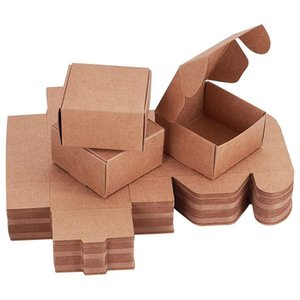 NEW-60Pcs Cube Gift Wrapping Kraft Paper Box Handmade Paper Accessories Soap Box for Earring Small Jewelry Crafting