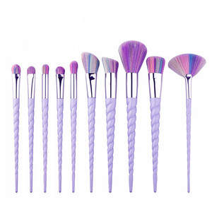 10pcs / set Cheapest spazzola di trucco Unicorn unicorn pennelli cosmetici colorati nylon trucco colorato set strumenti di bellezza manico a spirale