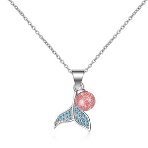 People Fish-Tail Dolphin Pendant Womens Nonsense Natural Strawberry Crystal Pink Recruit Peach Necklace-Style Sen Department of Clavicle Cha