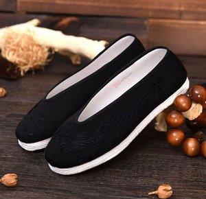 high grade big size black handmade cotton cloth dragon tai chi taiji sneakers wushu martial arts shoes EU37~EU48