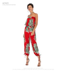 Printed Chiffon Womens Rompers Casual Skinny Womens Jumpsuits Designer Red Luxury Ladies Jumpsuits