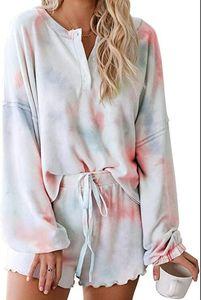 Shiying tie-Färben Pyjamas Xia 2020 neue komfortable atmungsaktiv mit langen Ärmeln aus Holz Ohrseite nach Hause tragen zwei Sätze von Damen