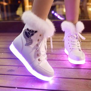 Красочные огни USB зарядки светящаяся обувь женской обувь флуоресцентного призрак танец доска хип-хоп легкие ботинки ботинки женщин