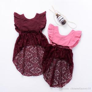 Ins Baby Mädchen Kleid Fliegende Ärmel Unregelmäßiges Schwalbenschwanz Hemd Kleid Mode Kleinkind Kinder Party Kleid Neu