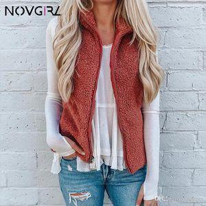 Novgirl Faux Fur Velvet Warm Vest Coats Women 2019 Autumn Winter Turtleneck Zipper Basic Jacket Female Slim Cardigan Outwear Tops