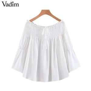 Vadim Frauen feste weiße Chiffonbluse stilvolle Slash Neck süße Fliege Langarm-Shirt lässig weiblich niedlich Tops blusas LB212