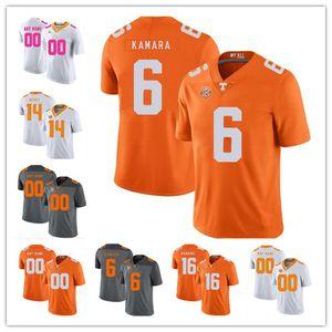 Пользовательские Теннесси Волонтеры # 6 Элвин Камара 16 Peyton Manning 1 Джейсон Виттена 14 Eric Berry 2019 NCAA Football Вольс Джерси Оранжевый Серый Белый