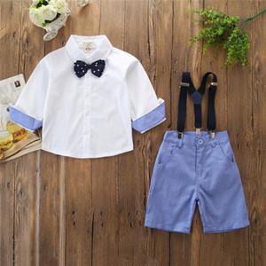 Enfants Bébés garçons Vêtements de soirée de mariage Costume Tops Sgirt + Pantalons Gentleman Jarretière Tenue d'été