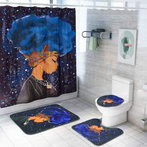 Cilected 4шт / Set африканская женщина душ занавес / Коврик для ванной / туалетом колодок Character печать Anti-Slip ковер фланель Ванна Коврики